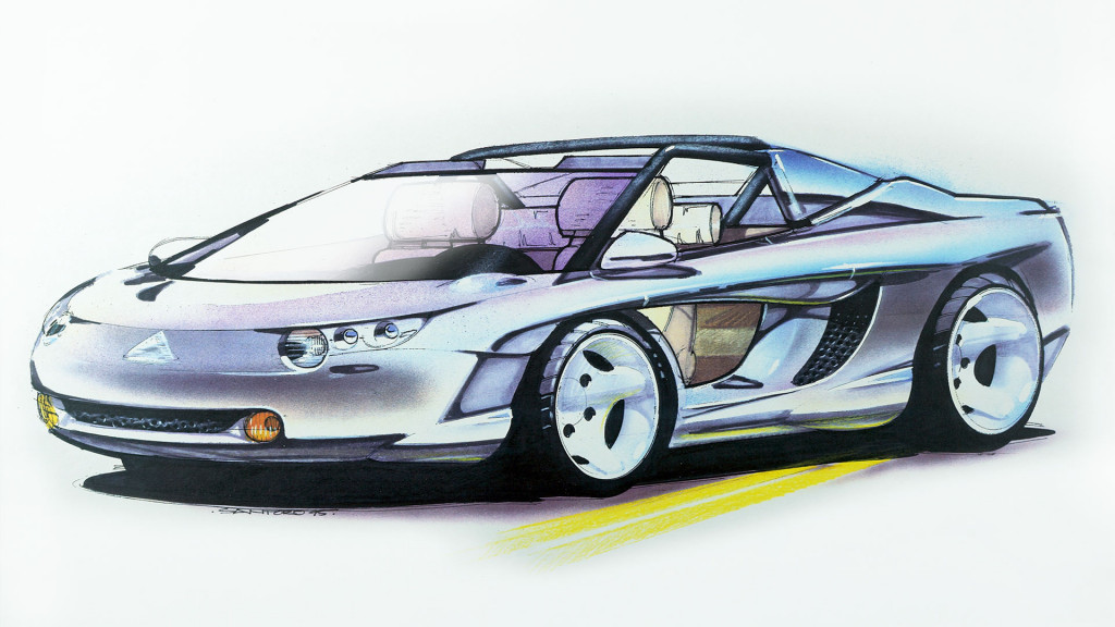 Vector open-top 2+2 lifestyle vehicle with an El Camino-like bed sketch by Michael Santoro