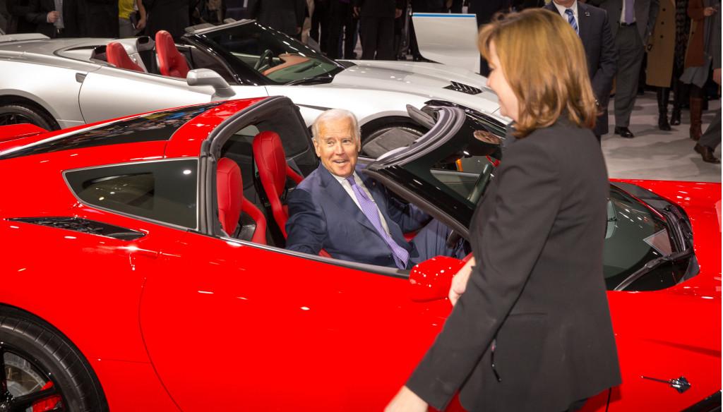 Vice President Biden, in Chevy Corvette
