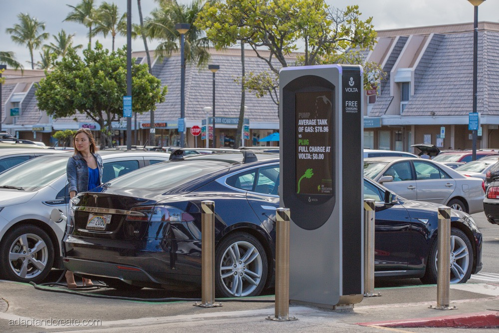 Tesla Model S at Volta Industries charging station