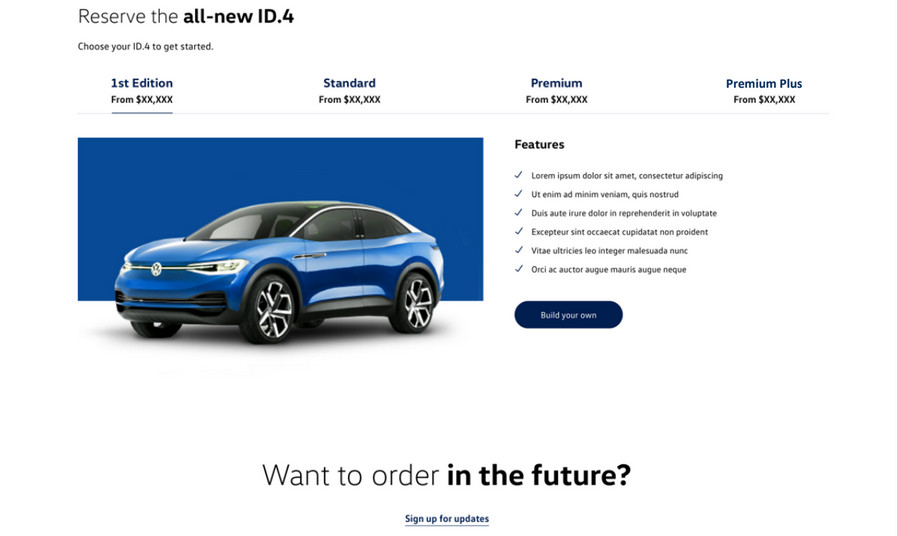 VW ID.4 reservaton screen