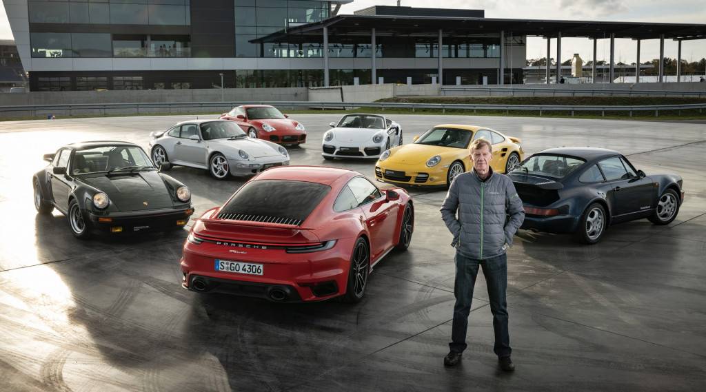 Walter Röhrl and all seven generations of the Porsche 911 Turbo