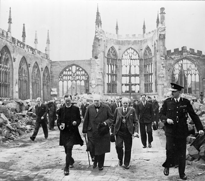 Winston Churchill visits the ruins of Coventry Cathedral, 1941