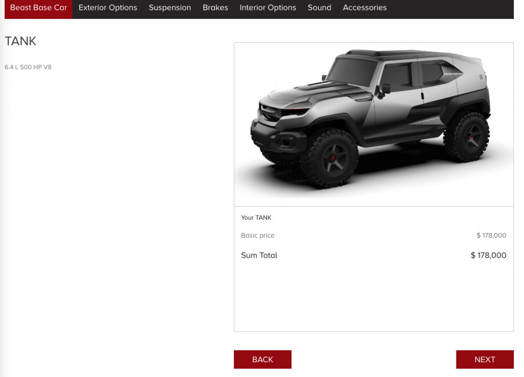You can now configure your Rezvani Tank
