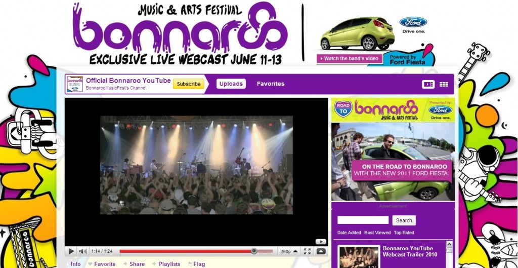 YouTube's Bonnaroo page, sponsored by the Ford Fiesta
