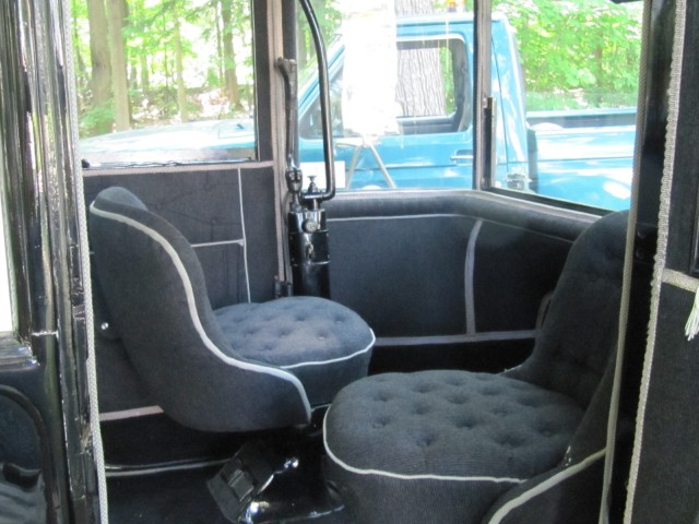 Interior of 1914 Detroit Electric duplex brougham, Schenectady, NY, June 2011