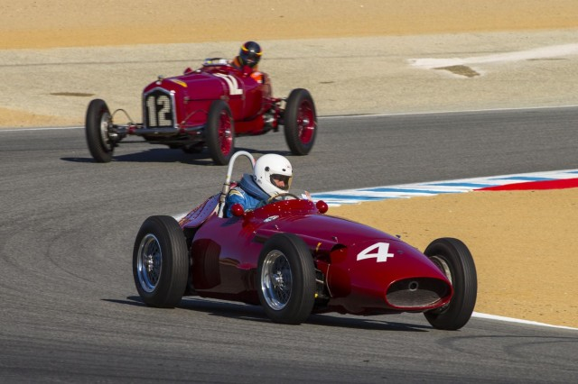 1957 Maserati 250F accelerates away from a 1934 Alfa Romeo Tipo B
