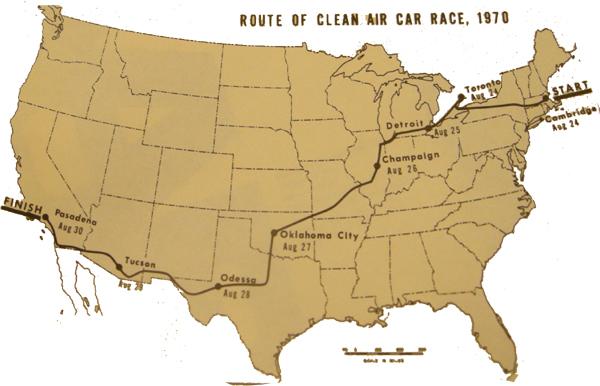 1970 Clean Air Car Race Map -