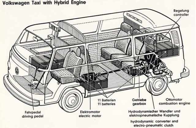 1977 Volkswagen Microbus hybrid, from 'The Complete Book of Electric Vehicles'