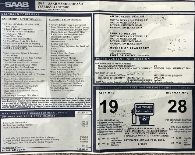 1999 Saab 9-5 Monroney label
