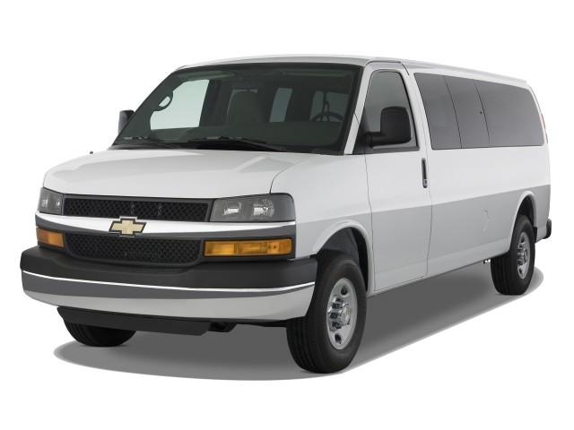 "2010 Chevrolet Express Passenger RWD 3500 155"" LS Angular Front Exterior View"