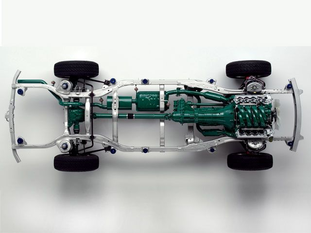 Top view of the chassis of a body-on-frame SUV