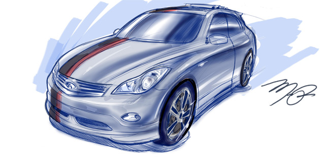 Teaser sketch previews a modified EX crossover that will appear at this week's SEMA Auto Show