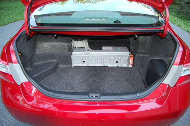 Nickel Metal Hydride Hybrid Battery Pack In Trunk Of 2009 Toyota Camry