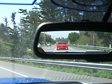 2010 Camaro in rearview mirror