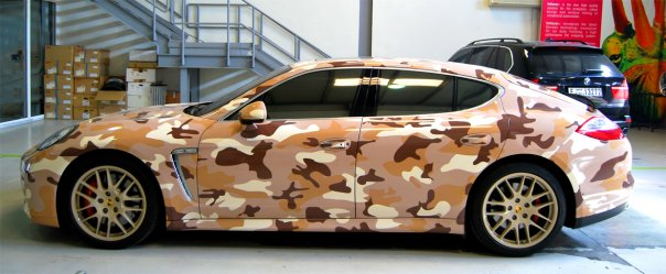 2010 Porsche Panamera Turbo in desert camouflage, from CrankAndPiston.com