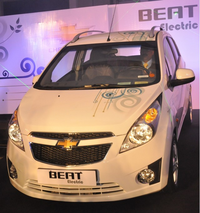 Chevrolet Beat EV electric vehicle at launch event, New Delhi, India, June 2011