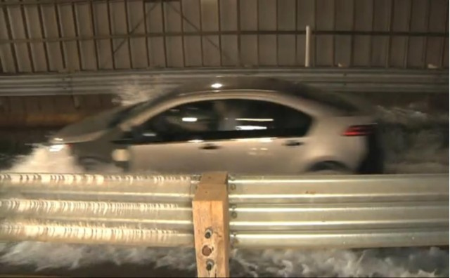 2011 Chevrolet Volt pre-production test vehicle in water trough at GM Milford Proving Ground