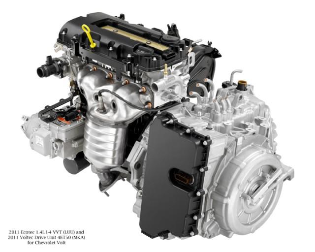1.4-liter range extending engine and Voltec drive unit on 2011 Chevrolet Volt
