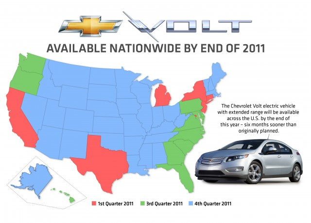 Map showing nationwide sales rollout for 2011 Chevrolet Volt range-extended electric car