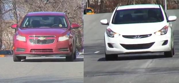 2011 Chevy Cruze Eco and 2011 Hyundai Elantra during road tests (video frame capture)