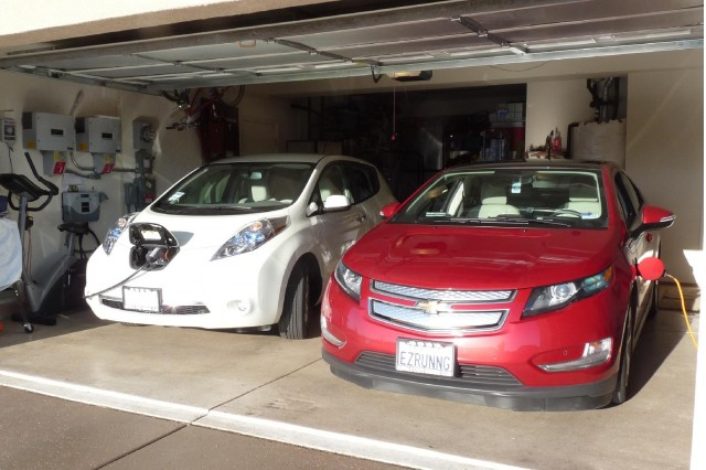 2017 Nissan Leaf And Chevy Volt With Charging Station Visible Photo By George