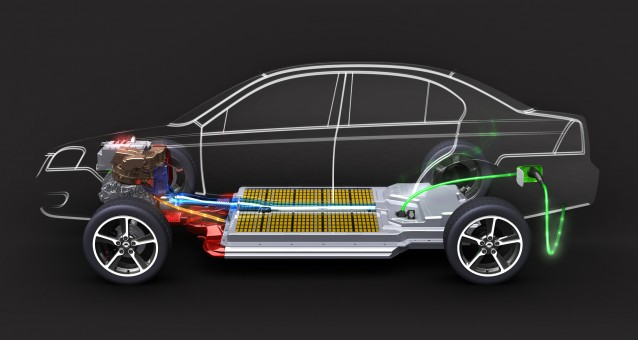 cutaway drawing of 2011 Coda Sedan electric car