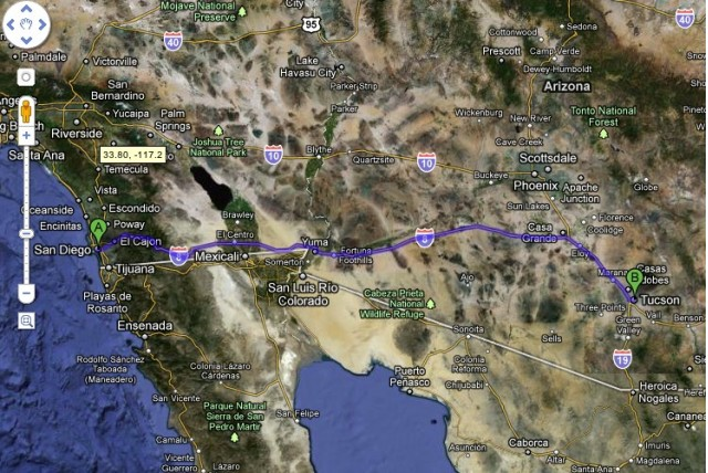2011 Nissan Leaf drives from San Diego to Tucson (Screengrab from Google Maps)