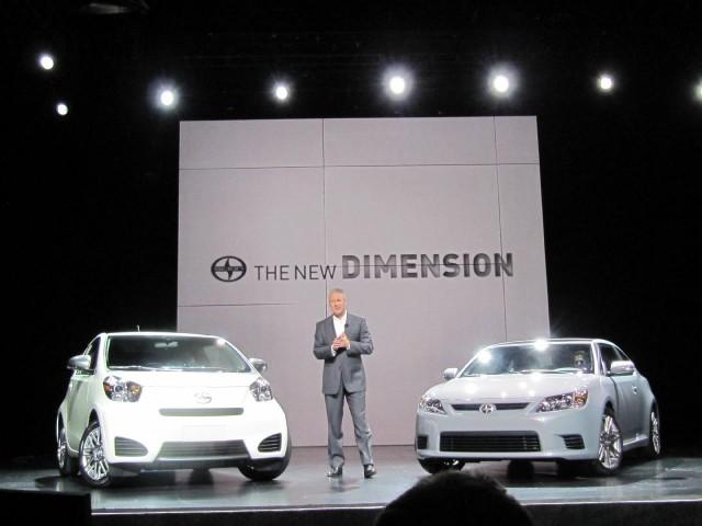 2011 Scion iQ and tC at 2010 New York Auto Show, with Scion's Jack Hollis