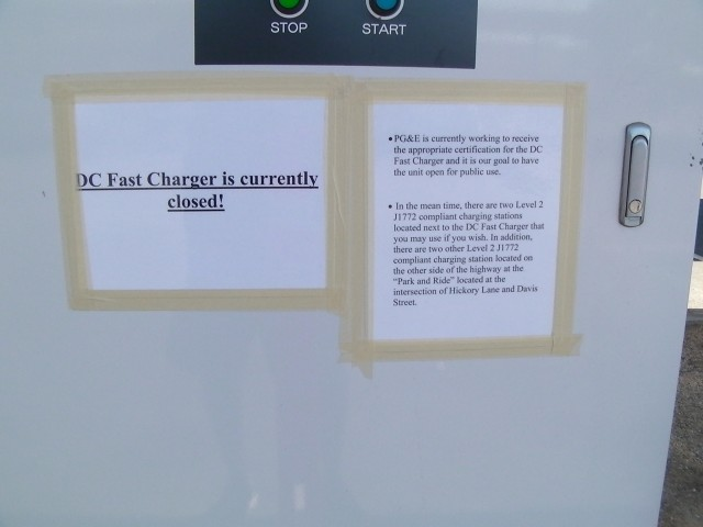 Sign on Vacaville, California, DC fast charger for electric cars, May 2011