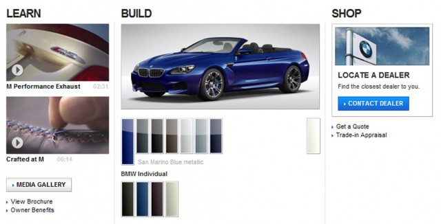 2012 BMW M6 configurator