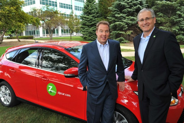 Ford chairman Bill Ford and Zipcar CEO Scott Griffith with 2012 Ford Focus