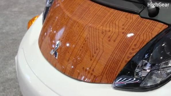 2012 Mitsubishi 'i' electric car, special surf woody edition, LA Auto Show, Nov 2011