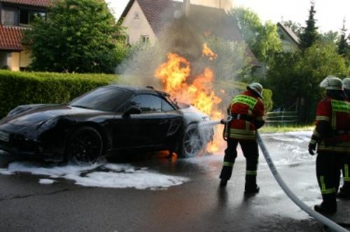 2012 Porsche 911 Prototype On Fire