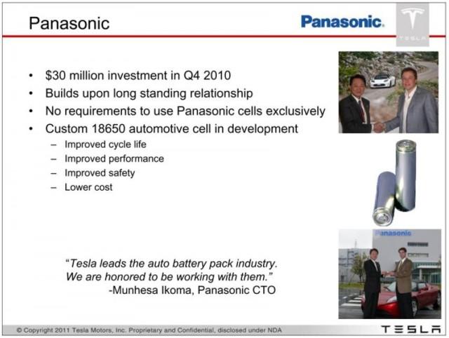 Tesla and Panasonic partnership, from Tesla Motors 8-K, filed December 2010