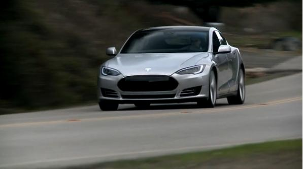 Tesla Model S Prototype On The Road January 2017 Screen Capture From Video