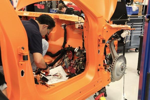 Tesla Model S workshop - wiring is installed in VIN # 13, a crash-test vehicle