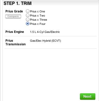 2012 Toyota Prius C Online Configuration Tool