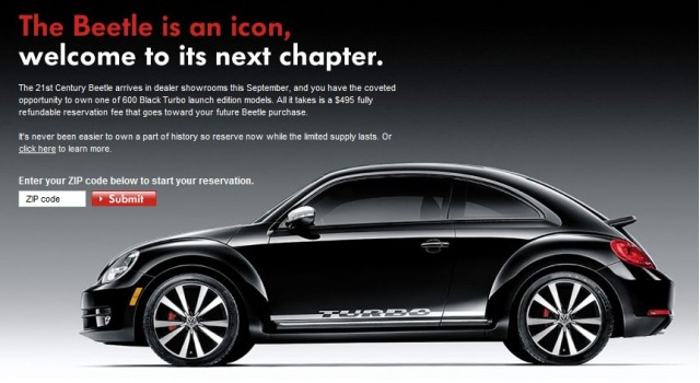 2012 Volkswagen Beetle Black Turbo launch edition