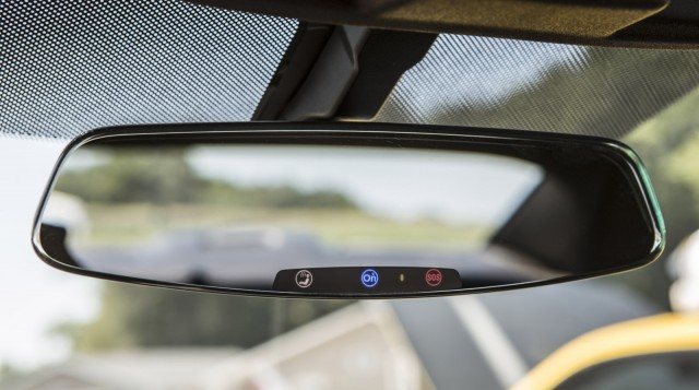 2013 Chevrolet Camaro's frameless rear-view mirror with electrochromic OnStar buttons