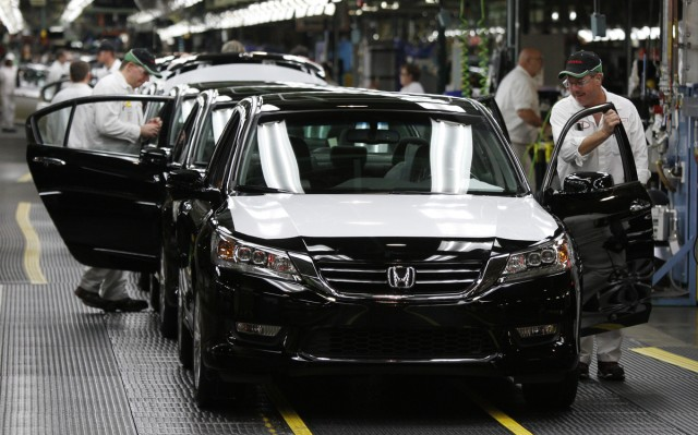 2013 Honda Accords on the assembly line in Marysville, Ohio, where they've been built for 30 years