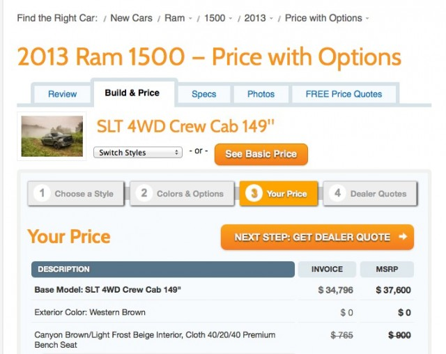 2013 Ram 1500 configurator on The Car Connection