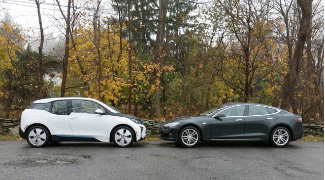 2013 Tesla Model S and 2014 BMW i3, Hudson Valley, NY, Nov 2014