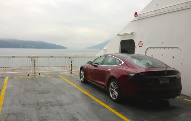 2013 Tesla Model S on ferry to Horseshoe Bay, Canada [photo: owner Vincent Argiro]
