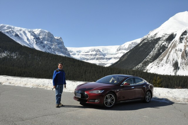 2013 Tesla Model S on Icefields Parkway in the Canadian Rockies [photo: owner Vincent Argiro]