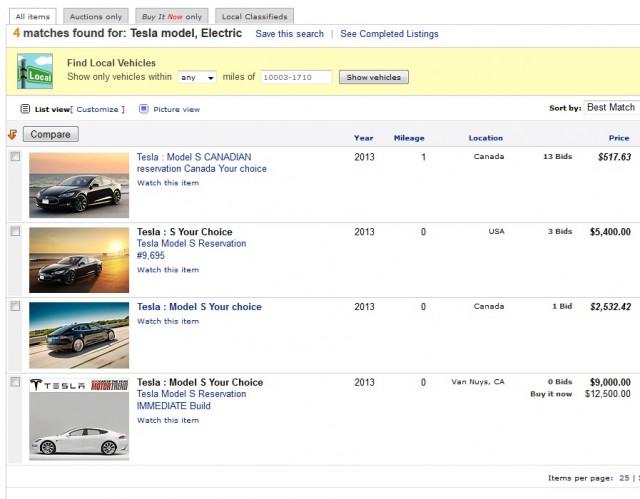 2013 Tesla Model S reservations offered for sale on eBay, Dec 11, 2012