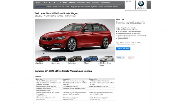 2014 BMW 3 Series Sports Wagon Configurator Live