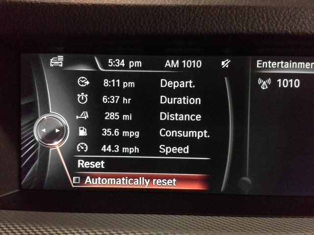 2014 BMW 535d xDrive fuel efficiency screen, weekend test drive, Feb 2014