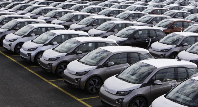 2014 BMW i3 electric cars waiting at East Coast shipping port for distribution, May 2014