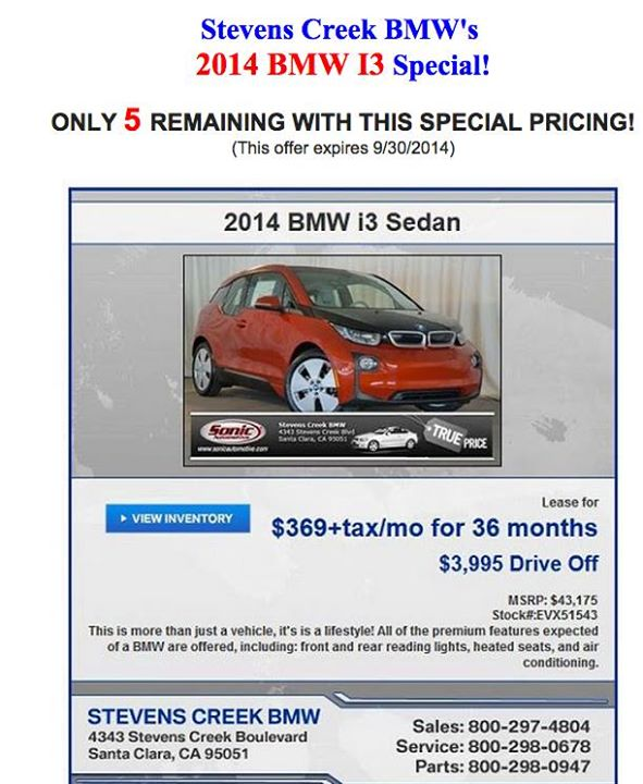 Bmw electric car lease california