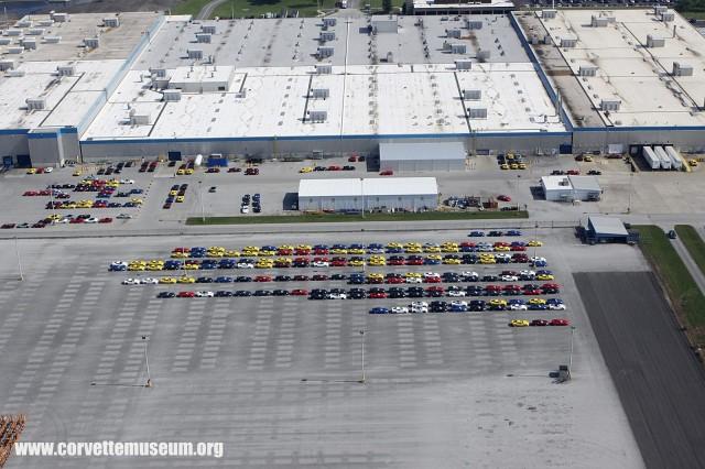 2014 Chevy Corvette Stingrays lined up outside of Bowling Green plant. Image via Corvette Museum.